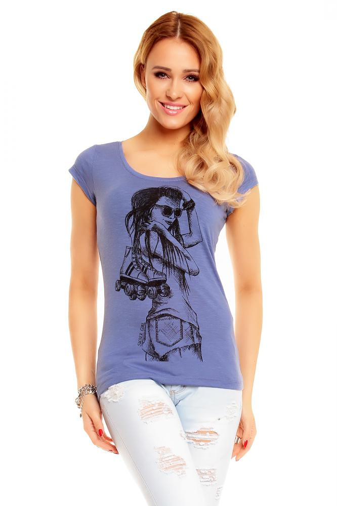 Dámske modré tričko s potlačou, XS