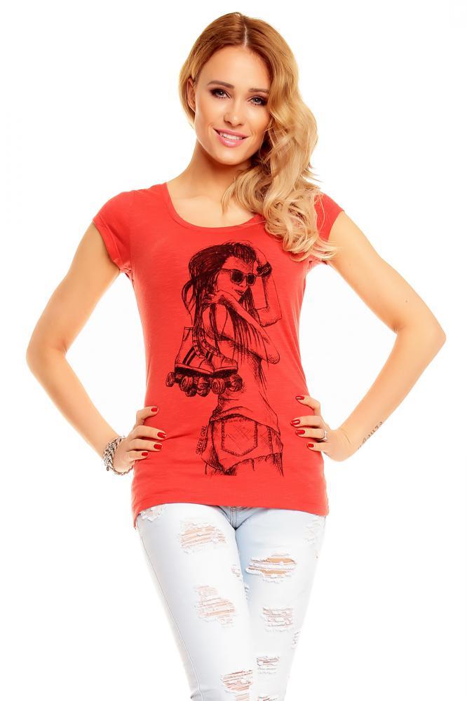 Dámske tehlovo červené tričko s potlačou, M