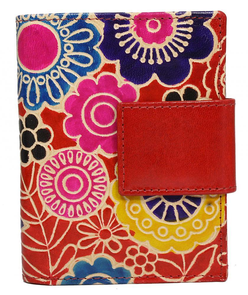 Červená designová dámská kožená peněženka