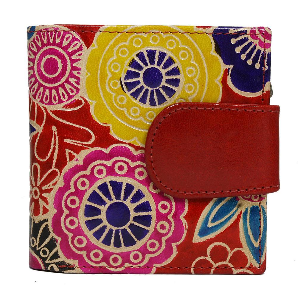 Malá červená designová dámská kožená peněženka