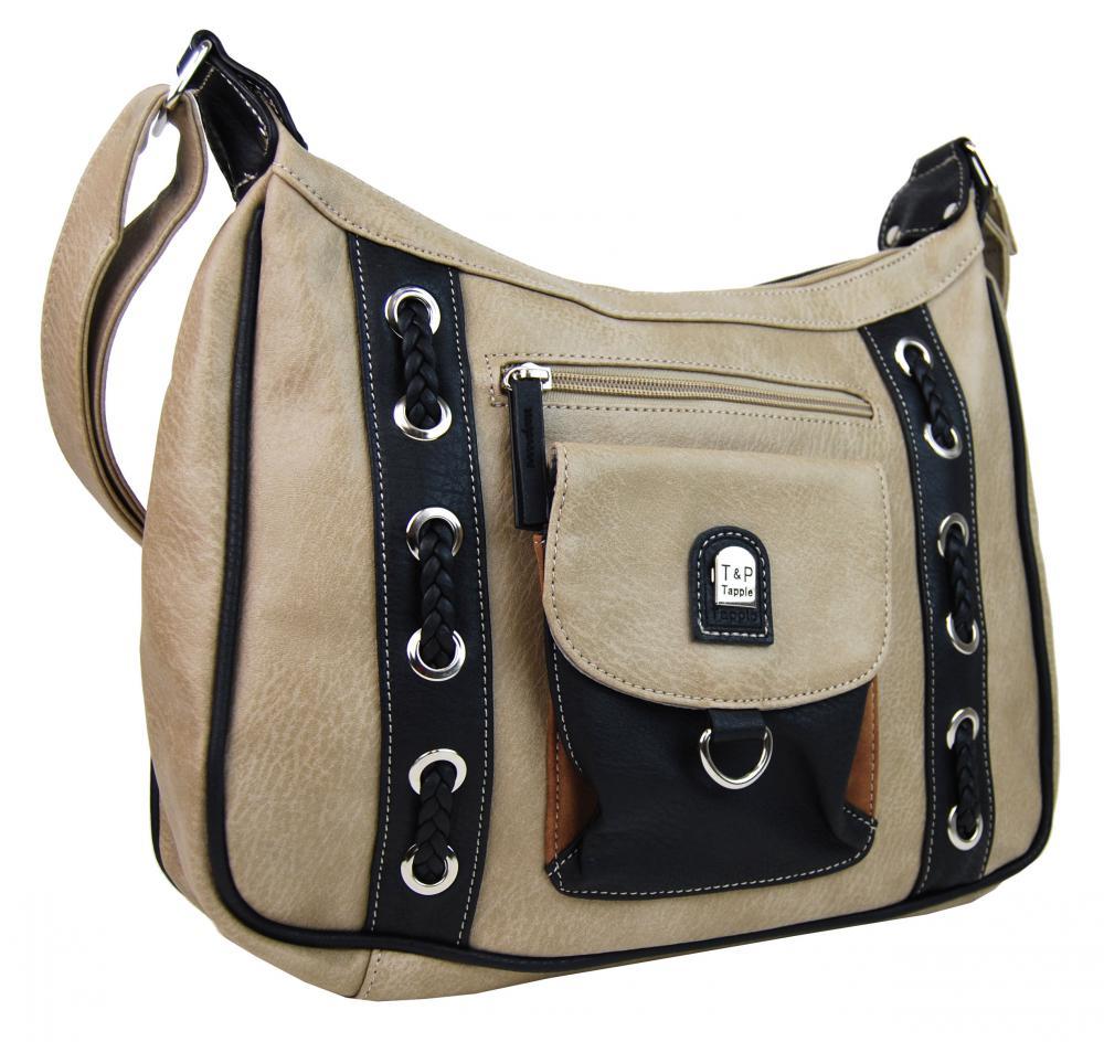 Crossbody dámska kabelka s dvoma sekciami H1790 šedo-béžová