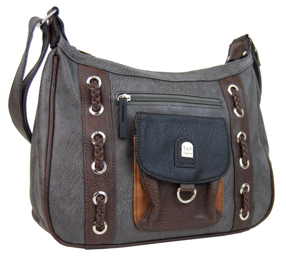 Crossbody dámska kabelka s dvoma sekciami H1790 sivá