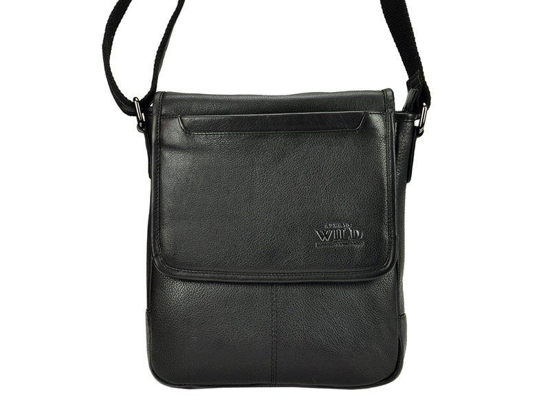 Kožená pánska čierna crossbody taška WILD 013-NDM