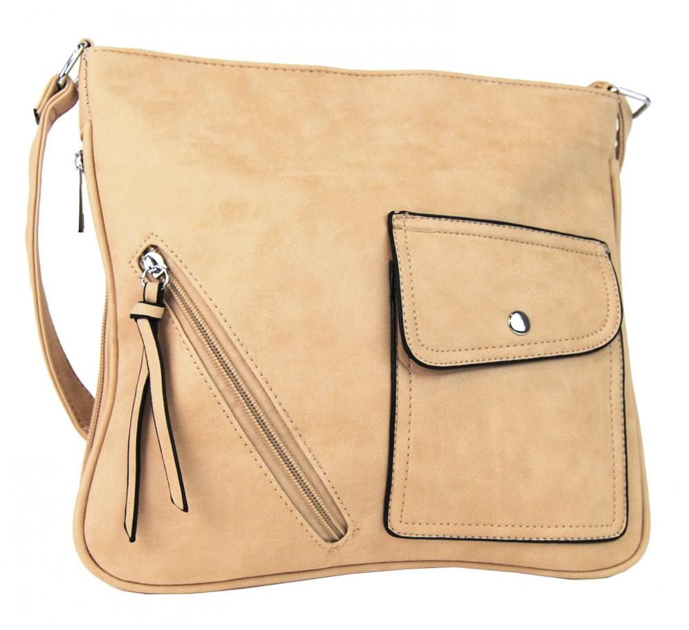 Elegantná crossbody kabelka z brúsenej kože YF001 béžová