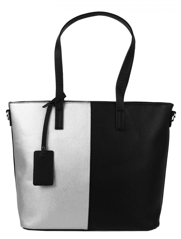 Elegantní kabelka s ozdobou YH-1623 černo-stříbrná