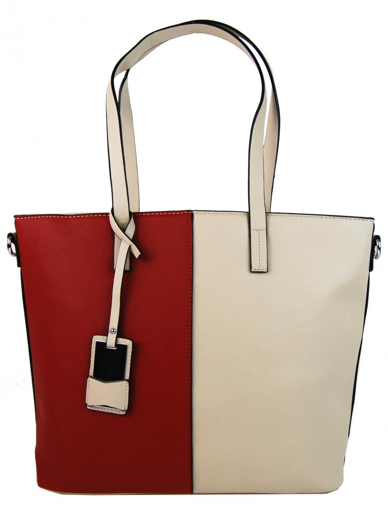 Elegantní kabelka s ozdobou YH-1623 béžovo-červená