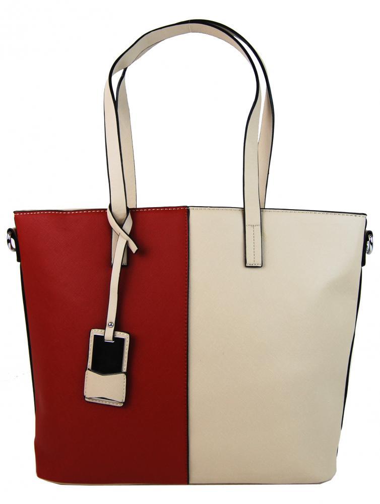 Elegantná kabelka s ozdobou YH-1623 béžovo-červená