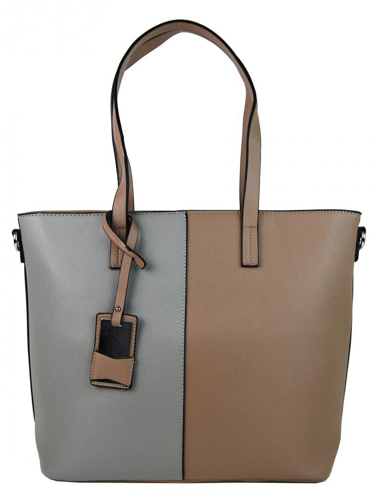Elegantní kabelka s ozdobou YH-1623 hnědo-šedá