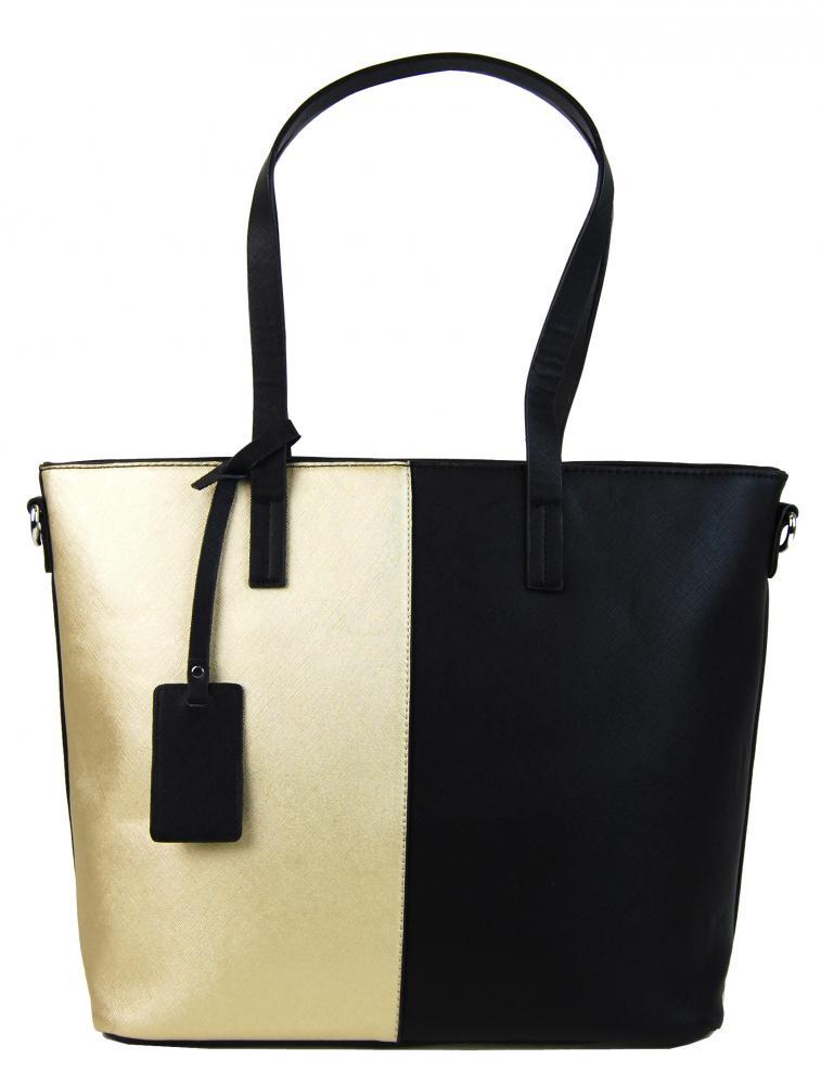 Elegantná kabelka s ozdobou YH-1623 čierno-zlatá