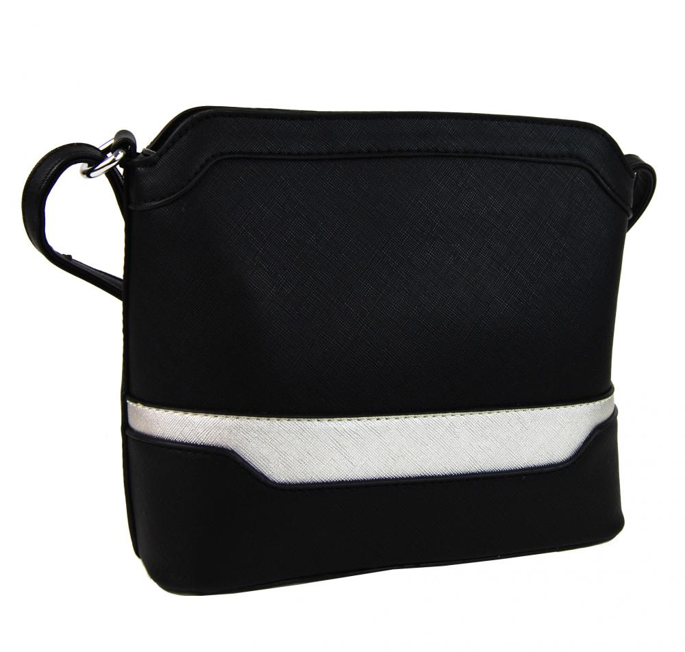 Malá černo-stříbrná crossbody kabelka YH1633