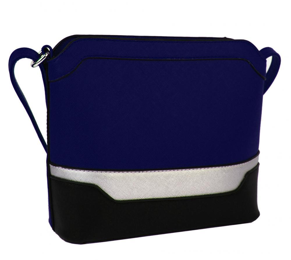 Malá modro-čierno-strieborná crossbody kabelka YH1633