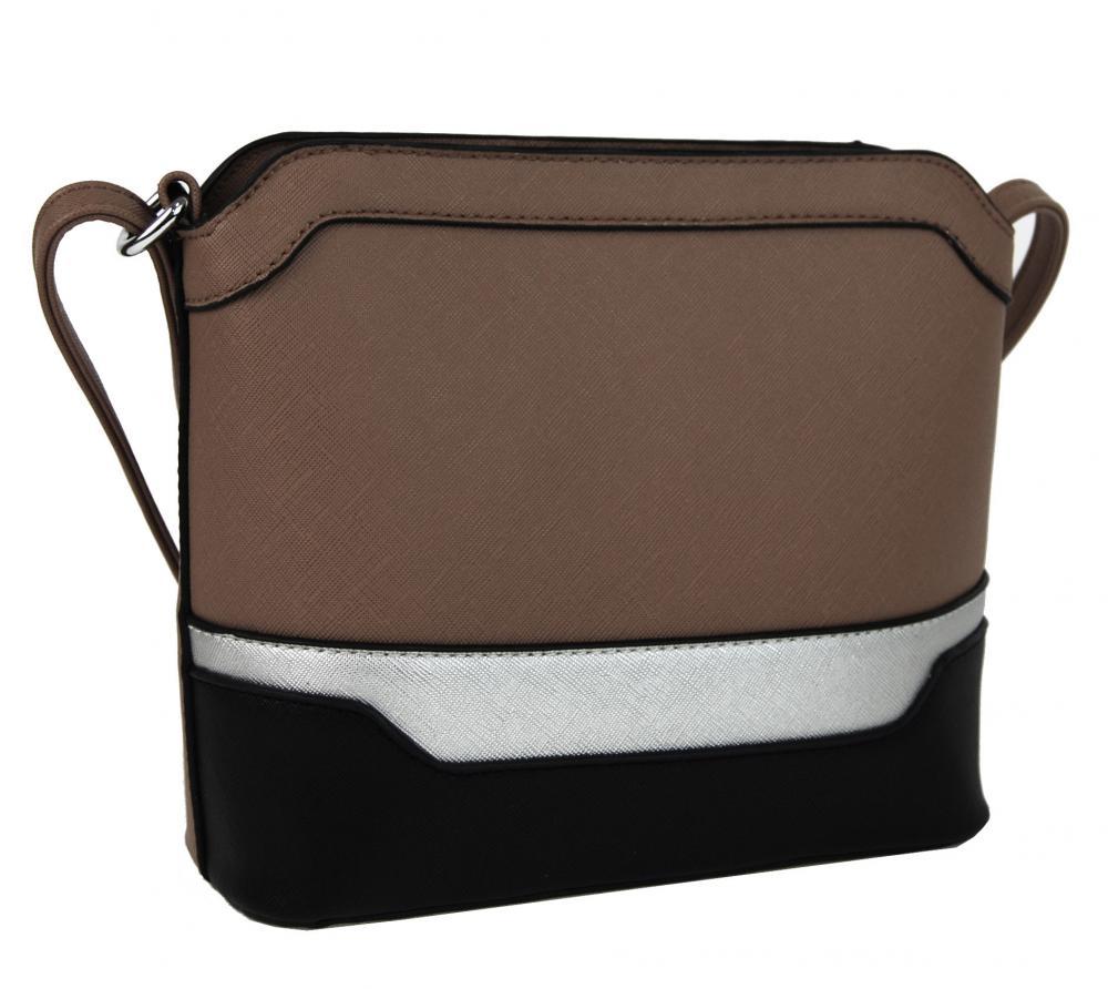 Malá šedohnědo-černo-stříbrná crossbody kabelka YH1633