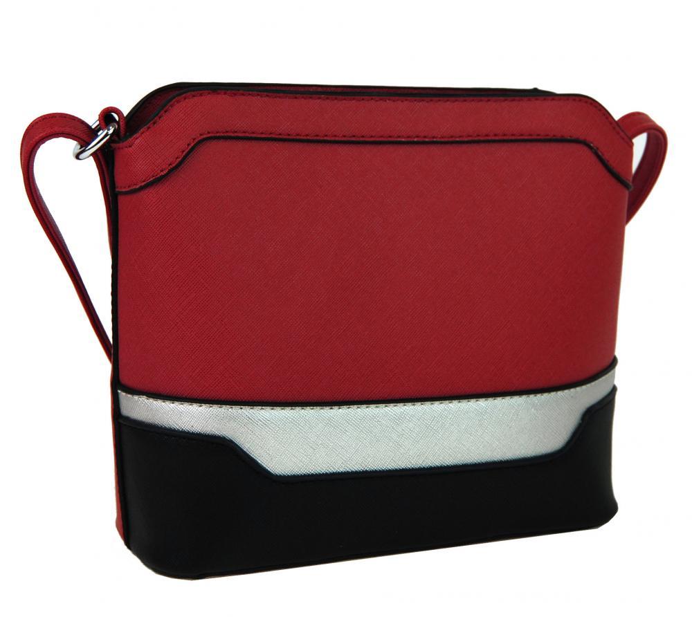 Malá červeno-čierno-strieborná crossbody kabelka YH1633