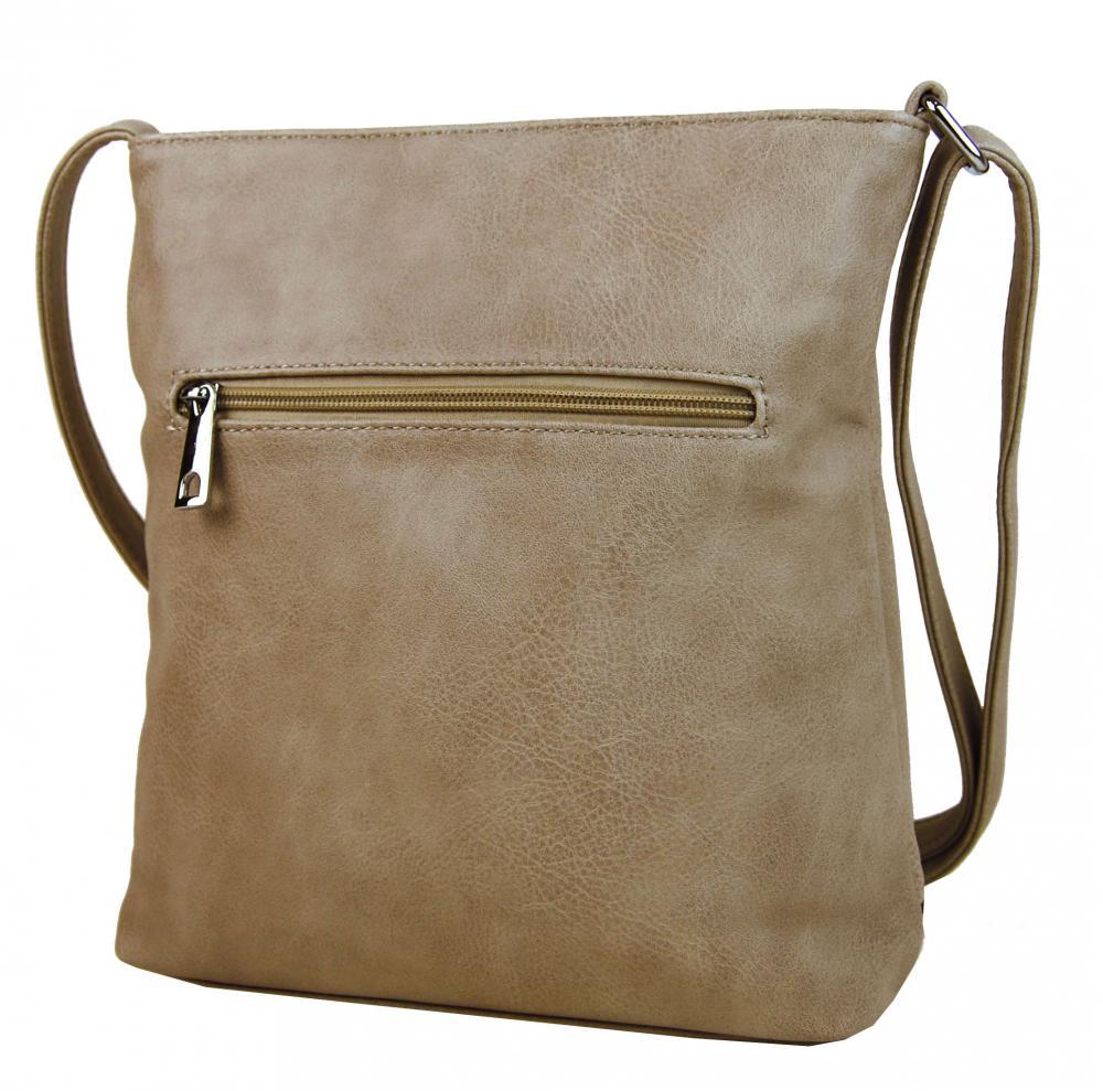 Crossbody dámská kabelka s výšivkami YH1636 přírodně hnědá