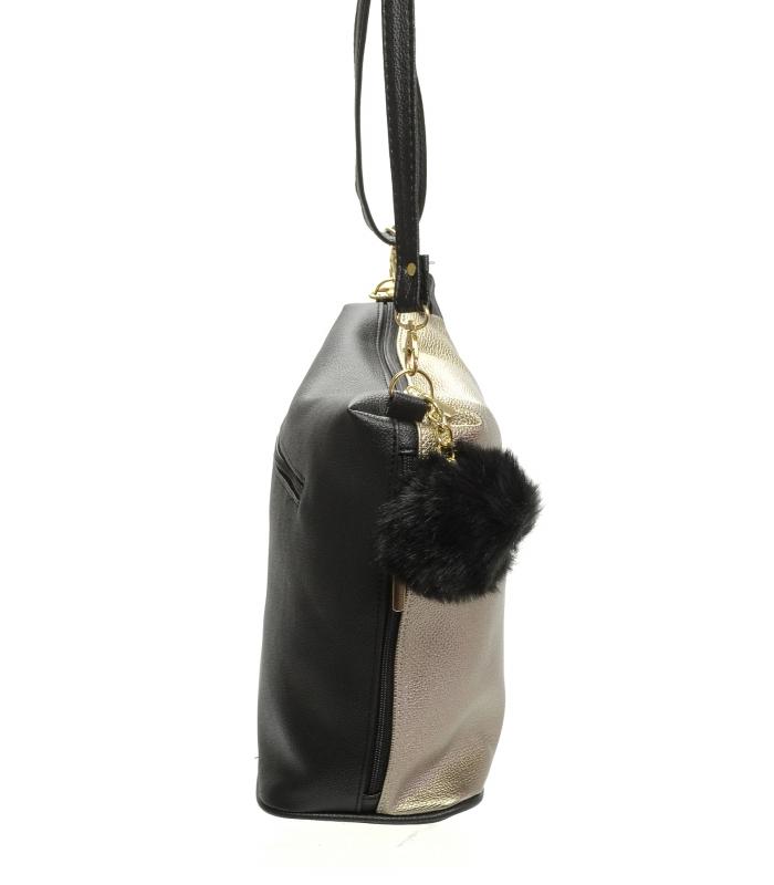 d8bf92776 Zlatá crossbody kabelka s kožešinou M207 GROSSO | M&N Elegante