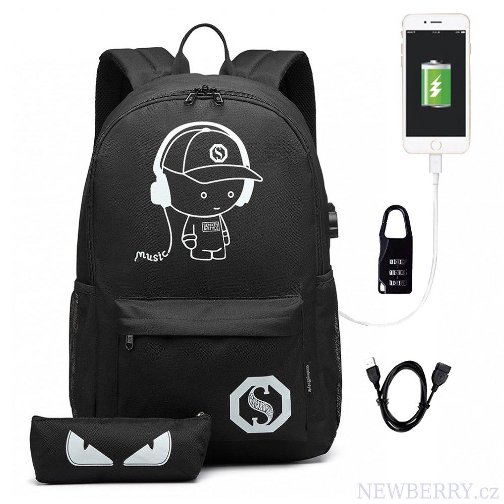 caa6a0e69 KONO čierny batoh s puzdrom, nepremokavý, USB port, žiari v tme ...