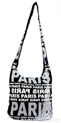 3842a95965e Moderní látková crossbody taška PARIS s bílým potiskem   NEWBERRY ...