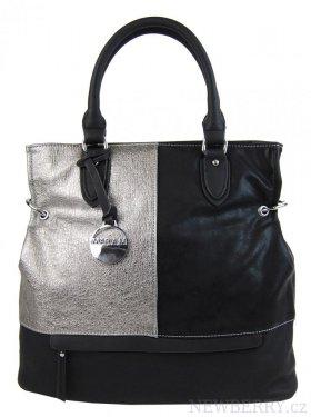 ec563d6e6dd Módní černá kabelka s rytým stříbrem 2992-MM   NEWBERRY ...