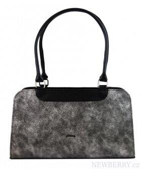 e93646793f Černo-stříbrná patinovaná dámská kabelka přes rameno S728 GROSSO ...