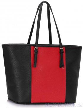 Moderní velká červeno-černá kabelka LS Fashion LS00297A   NEWBERRY ... 2a8b7209606