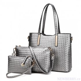 Praktický lakovaný dámský kabelkový set 3v1 Miss Lulu šedá ... 9853214c2c1