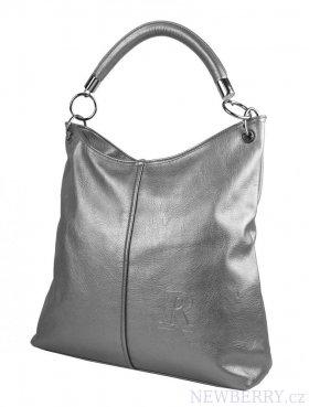 Moderní velká kabelka přes rameno 54-MH stříbrná   NEWBERRY ... 8ef1ada530