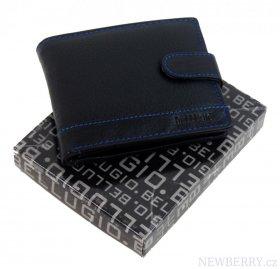 Bellugio Černá pánská kožená peněženka s modrým proševem v dárkové krabičce b8390a4b3c