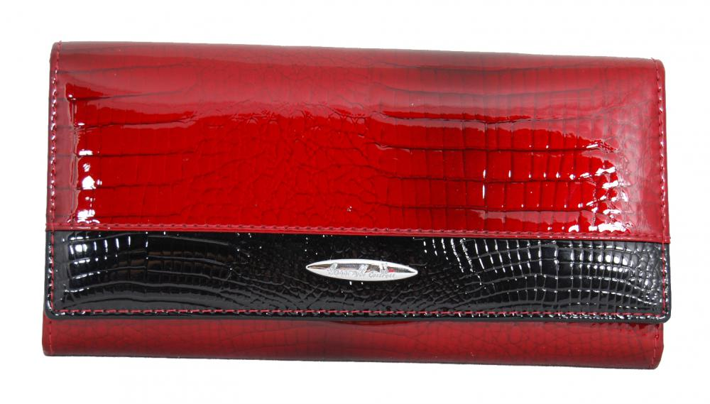 Dámska kroko kožená peňaženka v krabičke Cossroll 01-5242-1 červeno-čierna