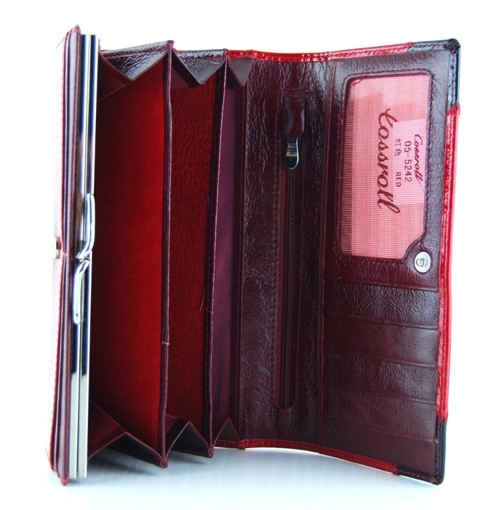 Dámska kožená peňaženka Cossroll 05-5242 červeno-čierna