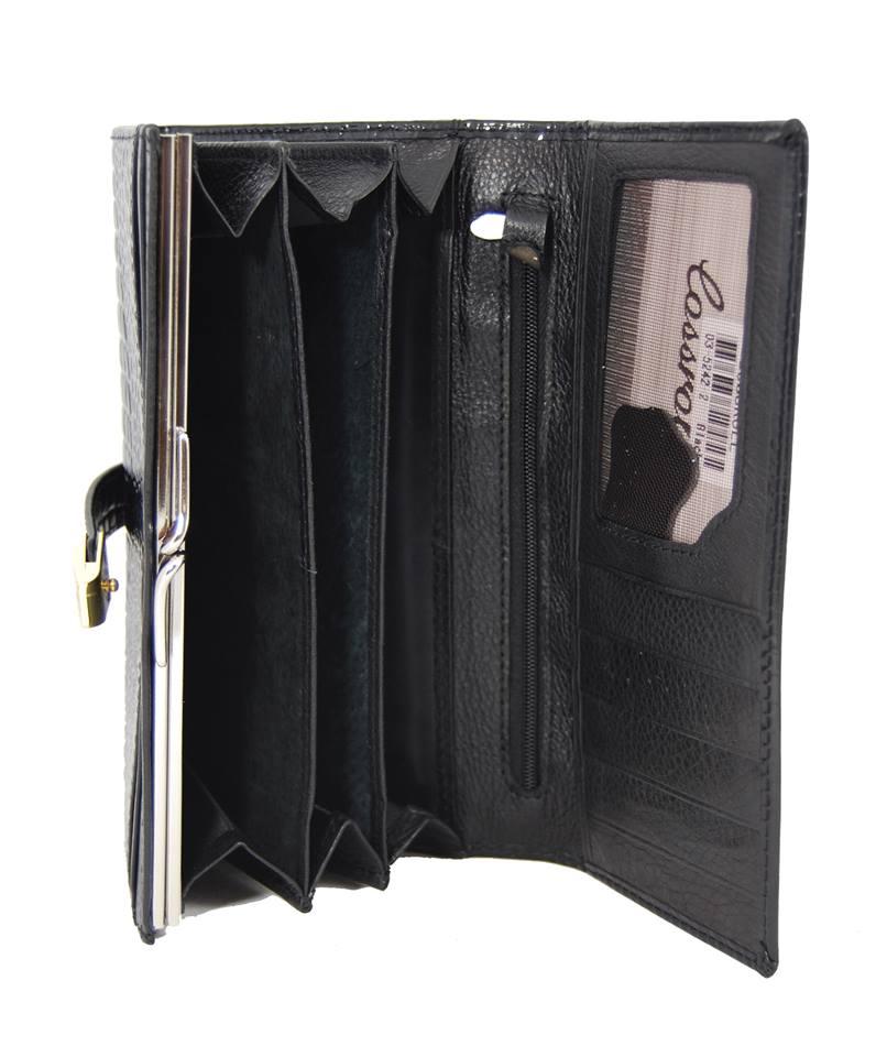 Dámská kroko kožená peněženka v krabičce Cossroll A16-5242 černá