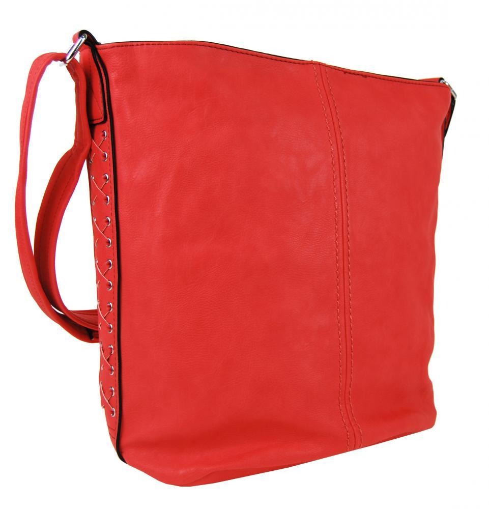 Veľká dámska crossbody kabelka / vrece 1586-BB červená