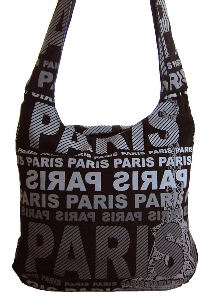 Moderná crossbody taška PARIS so sivou potlačou