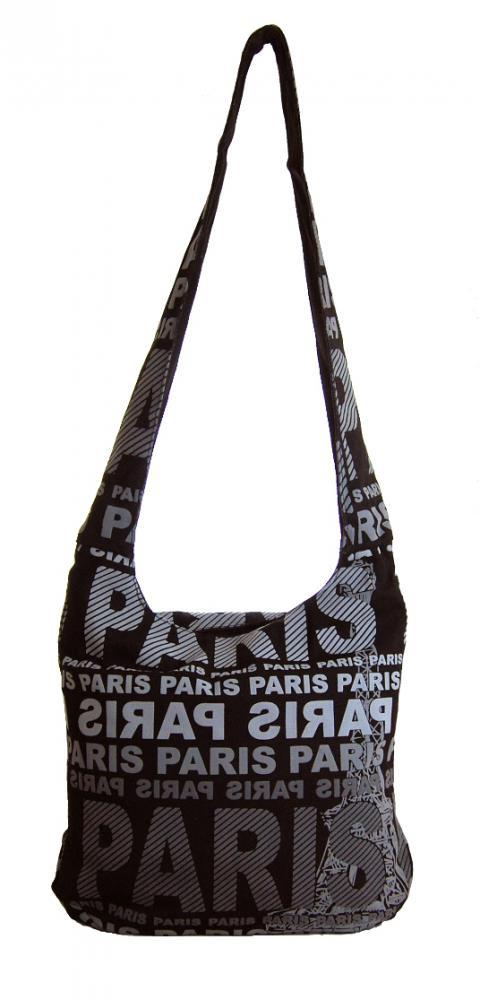 Moderná látková crossbody taška PARIS so sivou potlačou