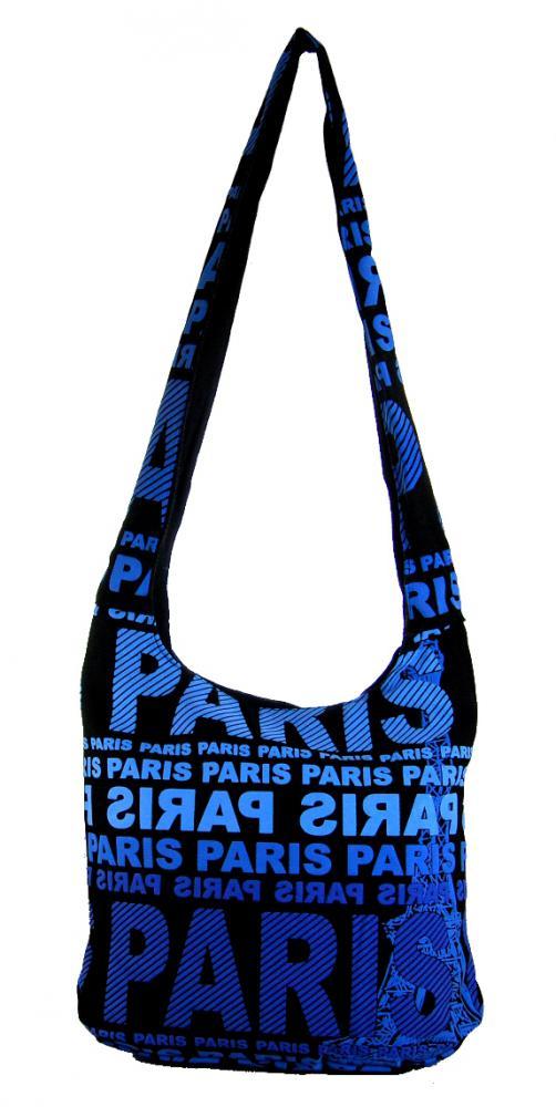 Moderná látková crossbody taška PARIS s modrou potlačou