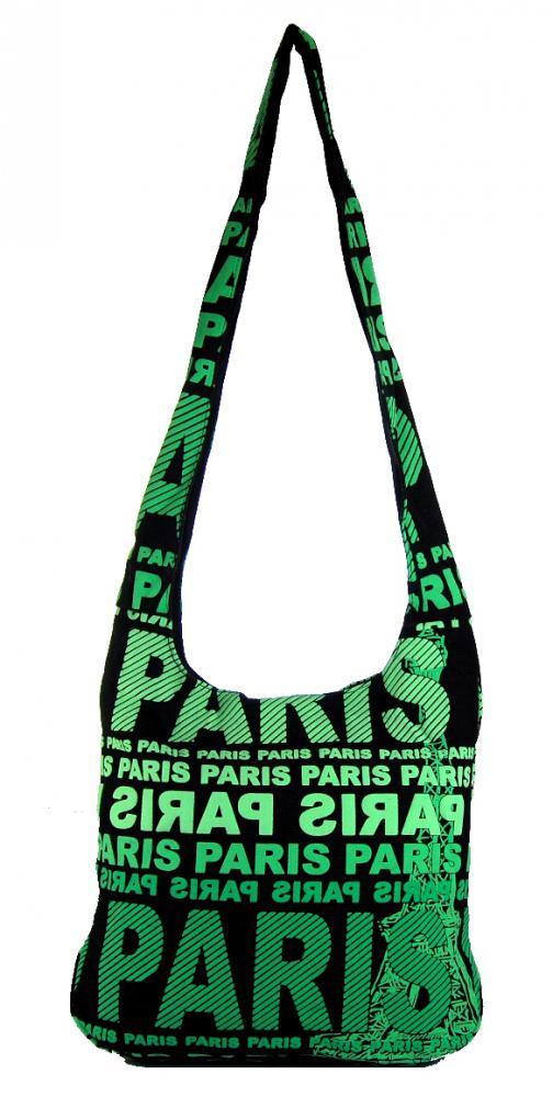 Moderní látková crossbody taška PARIS se zeleným  potiskem
