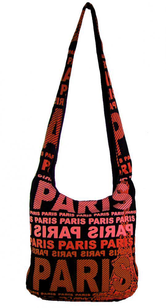 Moderná látková crossbody taška PARIS s terakotovou potlačou