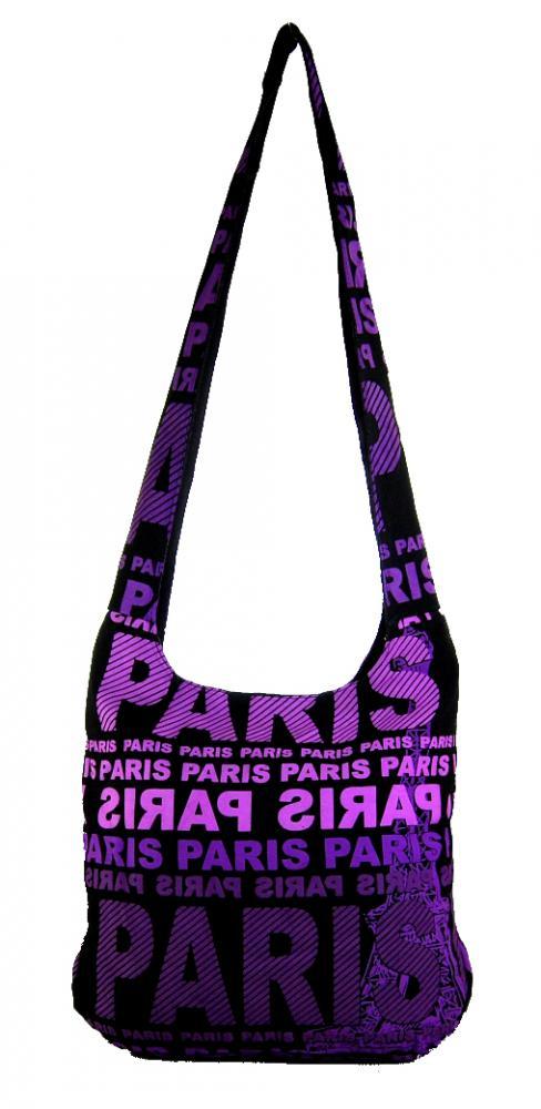 Moderná látková crossbody taška PARIS s fialovou potlačou