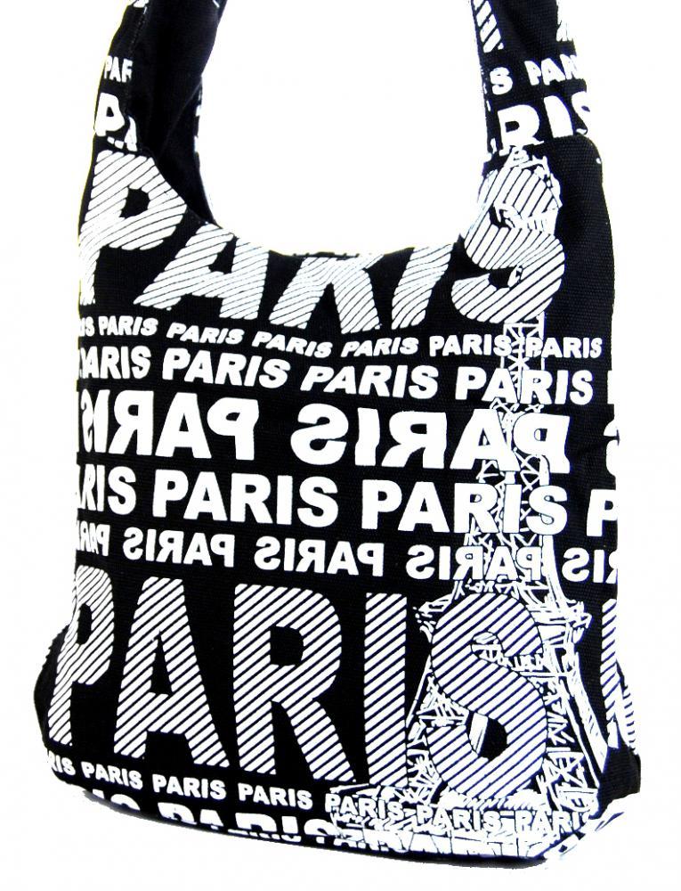 Moderní látková crossbody taška PARIS s bílým potiskem