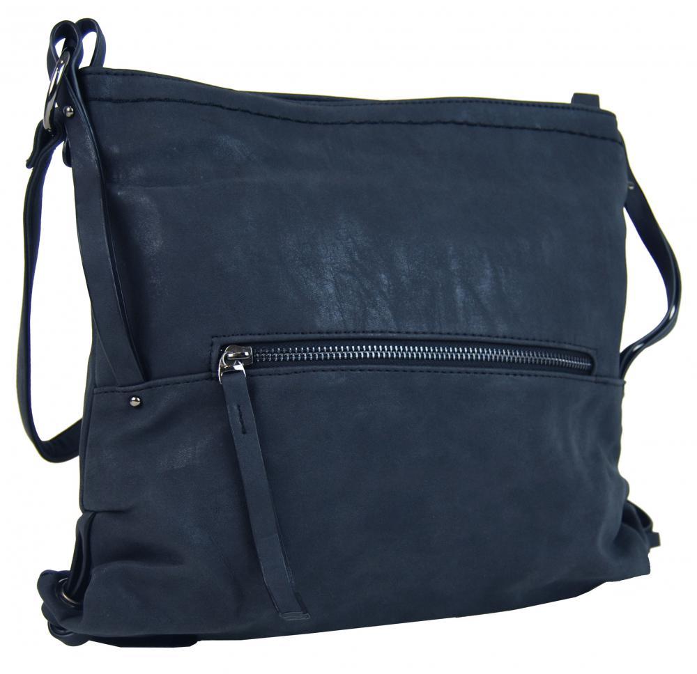 Dámska crossbody kabelka z brúsenej kože 165B-6 tmavo modrá
