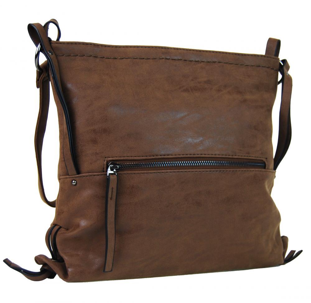 Dámska crossbody kabelka z brúsenej kože 165B-6 tmavo hnedá