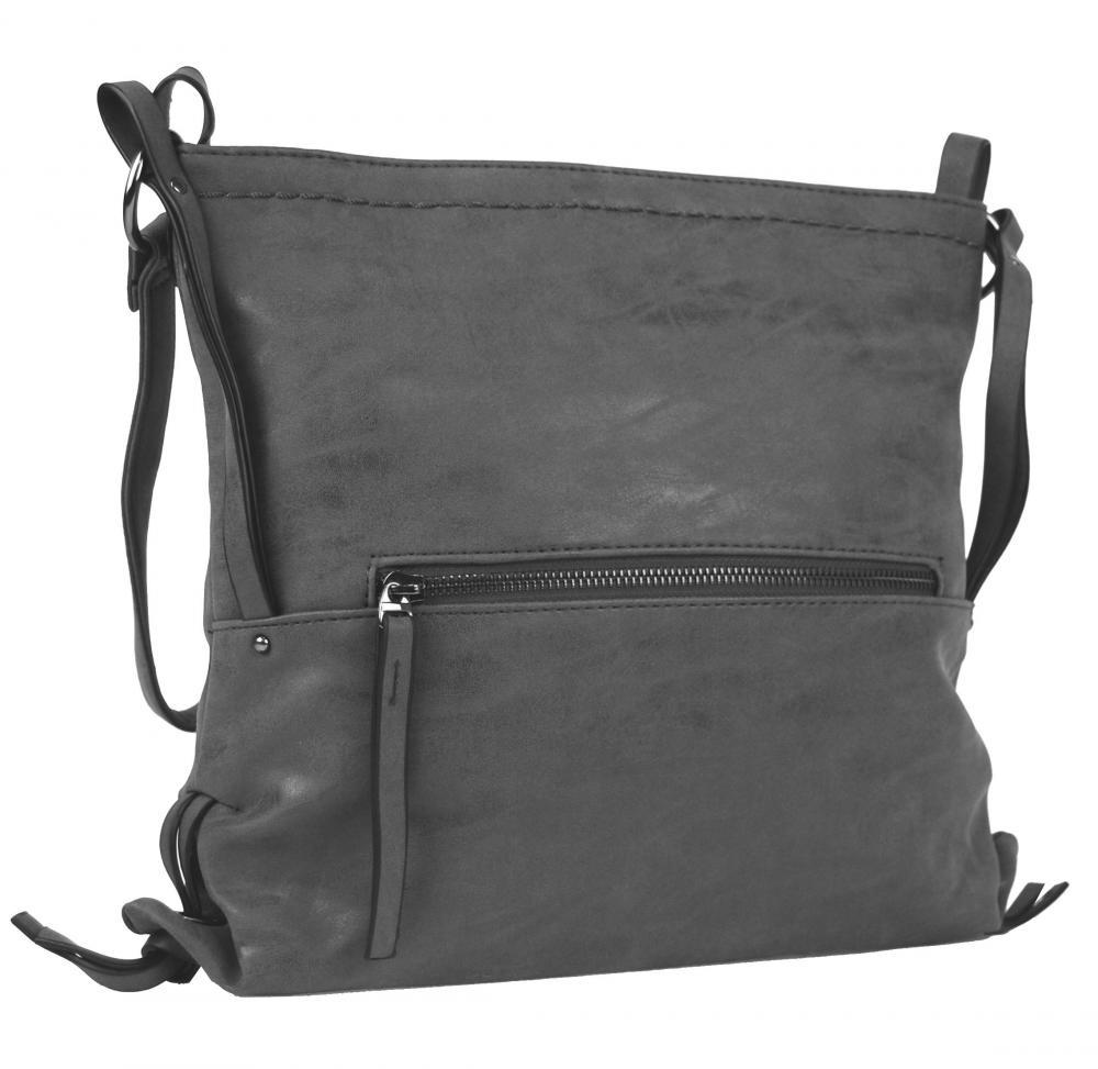 Dámska crossbody kabelka z brúsenej kože 165B-6 nová sivá