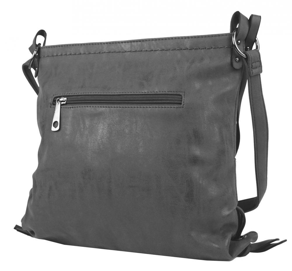 Dámská crossbody kabelka z broušené kůže 165B-6 nová šedá