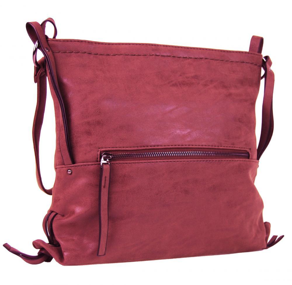 Dámska crossbody kabelka z brúsenej kože 165B-6 malinovo červená