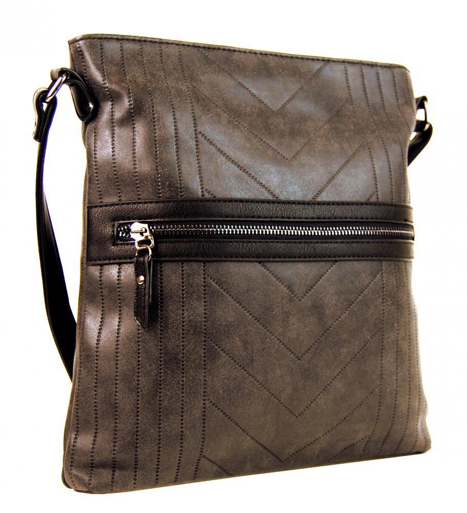 Dámska vysoká crossbody kabelka z brúsenej kože 165B-8 kávovo hnedá