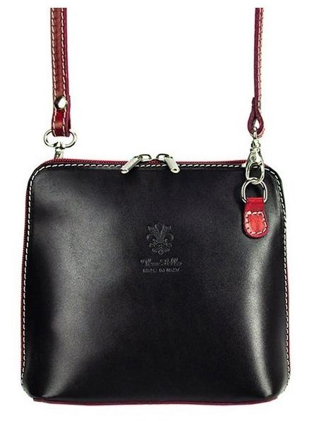 Kožená malá dámska crossbody kabelka čierno-bordová