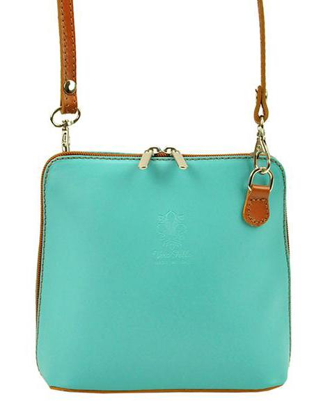 Kožená malá dámská crossbody kabelka tyrkysová modrá