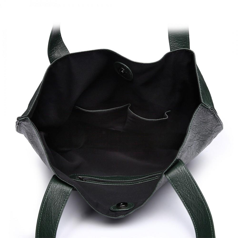 Tmavě zelený dámský set velkých kabelek 2v1 Miss Lulu