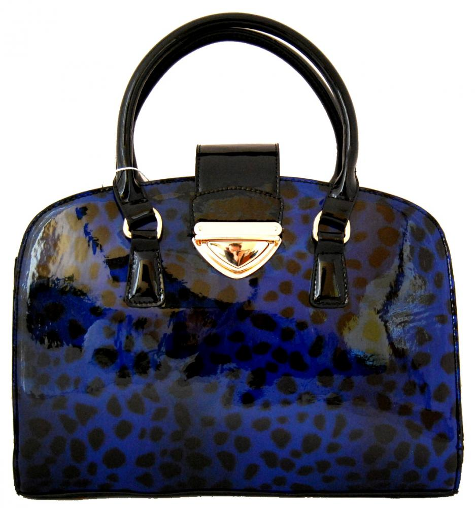 Lesklá modrá kabelka do ruky fasco Berlin 2002-879