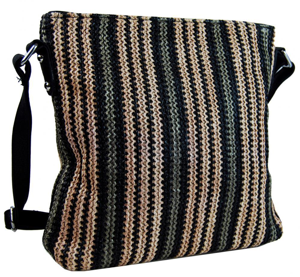 Černá pruhovaná textilní crossbody kabelka T2050