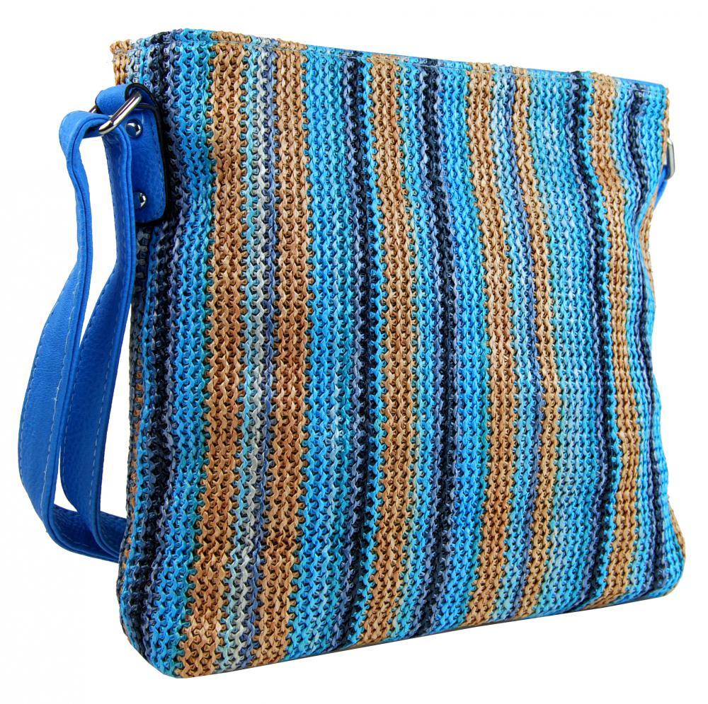 Modrá pruhovaná textilní crossbody kabelka T2050